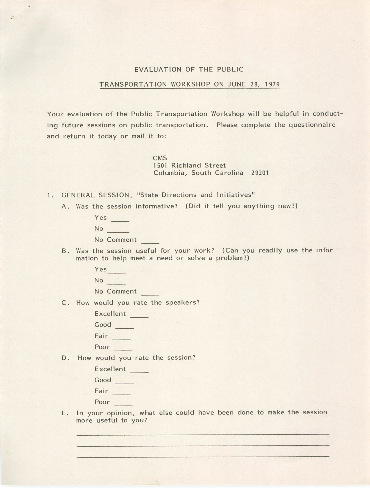 Evaluation of the Public Transportation Workshop on June 28, 1979