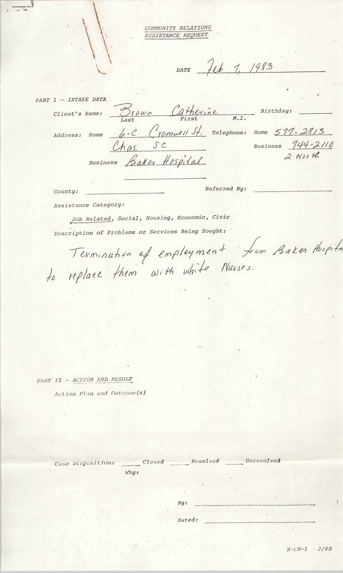 Community Relations Assistance Request, February 7, 1983
