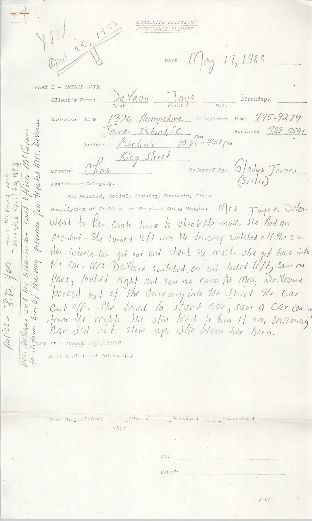Community Relations Assistance Request, May 17, 1983