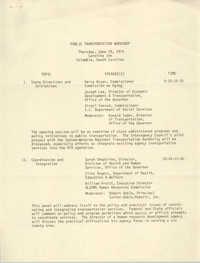 Public Transportation Workshop Agenda, June 28, 1979