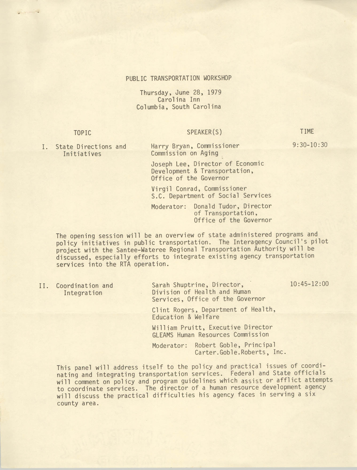 Public Transportation Workshop Agenda, June 28, 1979