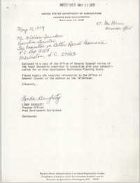 Letter from Linda Daugherty to William Saunders, May 21, 1979