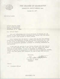 Letter from Theodore S. Stern to Benjamin Grant, January 25, 1977