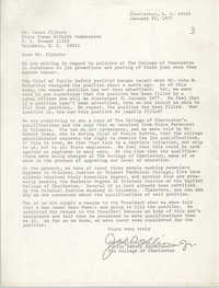 Letter from Joe Collins, Jr. to James Clyburn, January 22, 1977