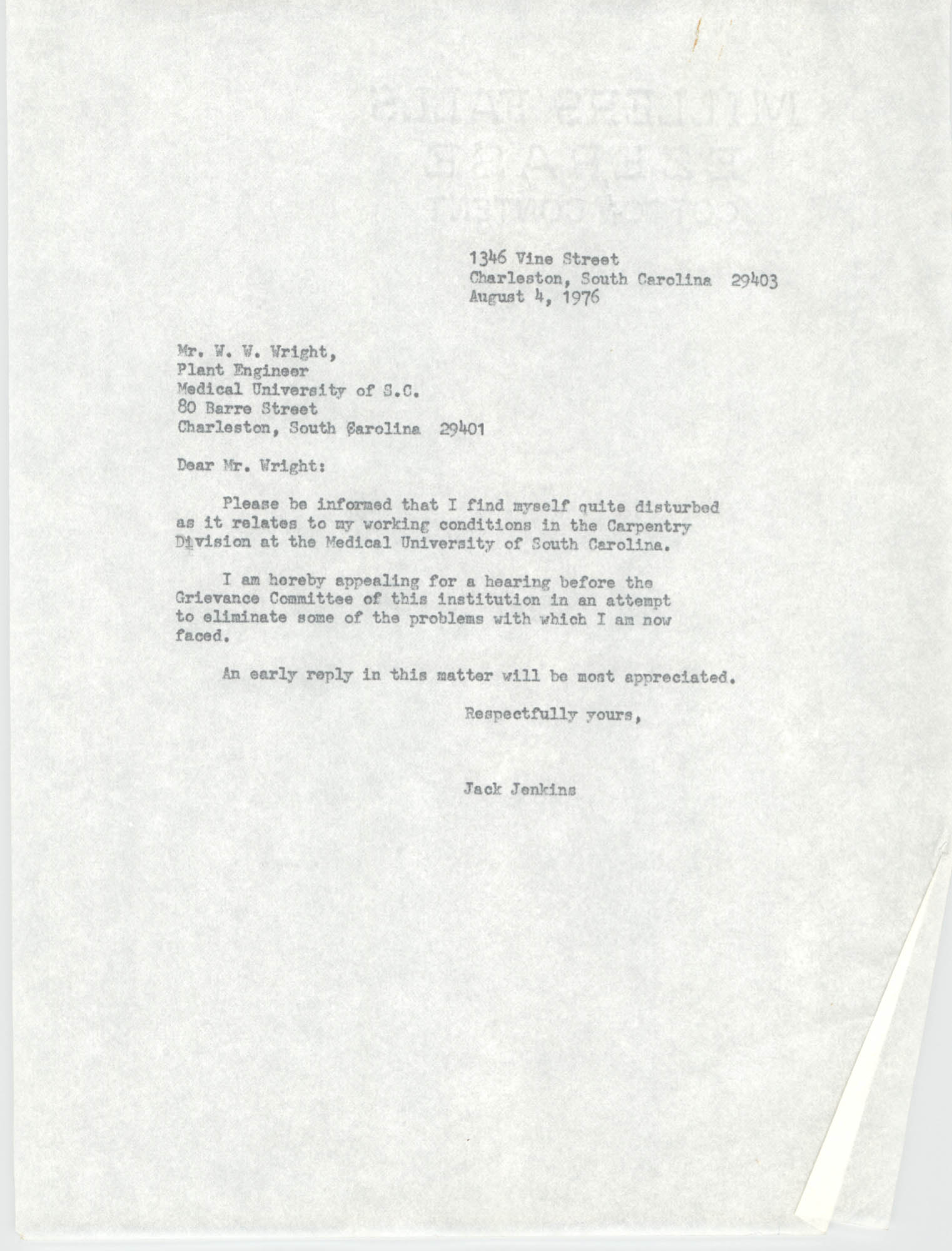 Letter from Jack Jenkins to W. W. Wright, August 4, 1976