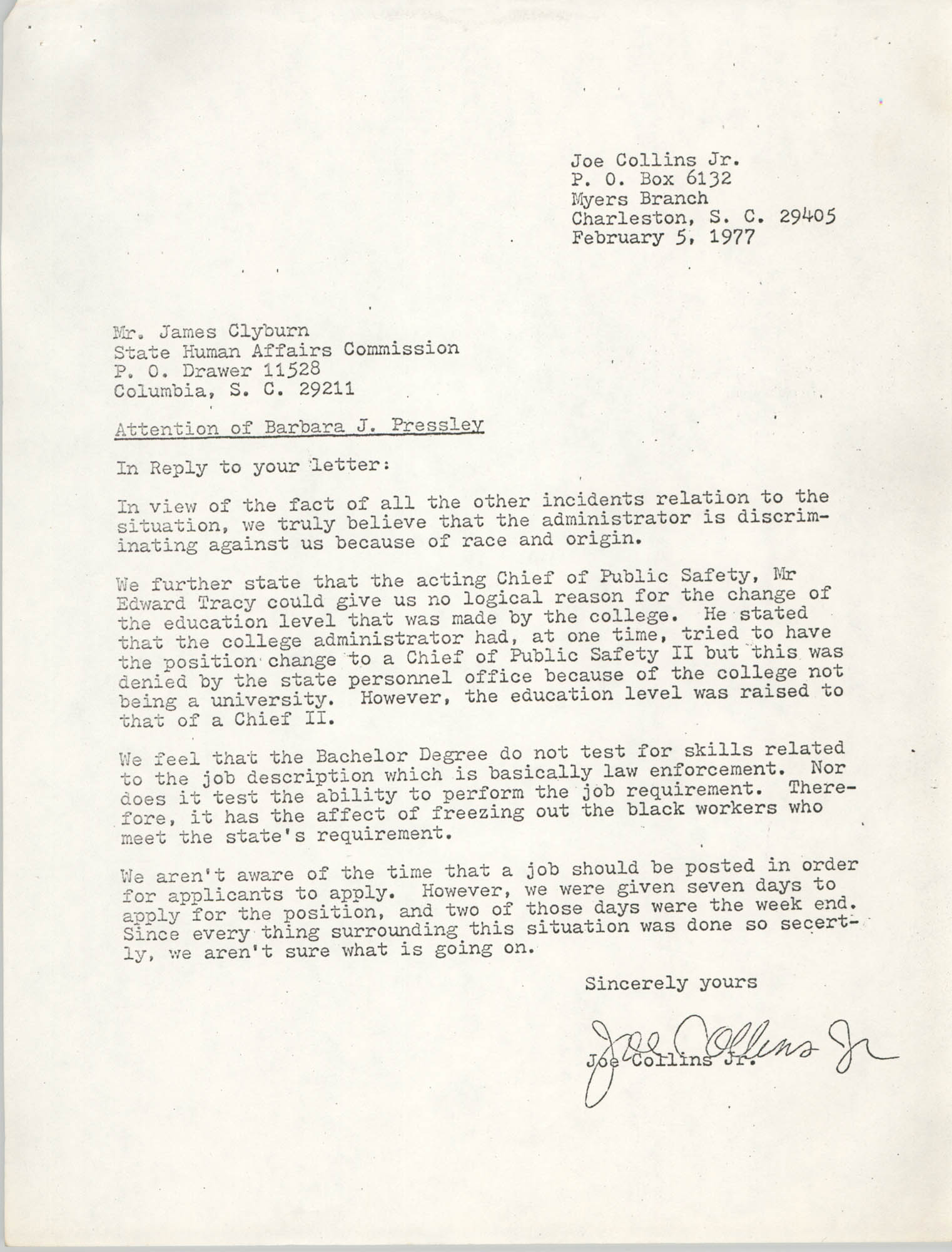 Letter from Joe Collins, Jr. to James Clyburn, February 5, 1977