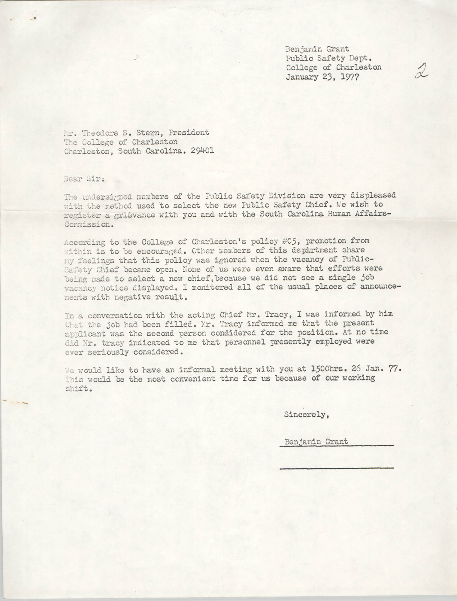 Letter from Benjamin Grant to Theodore S. Stern, January 23, 1977