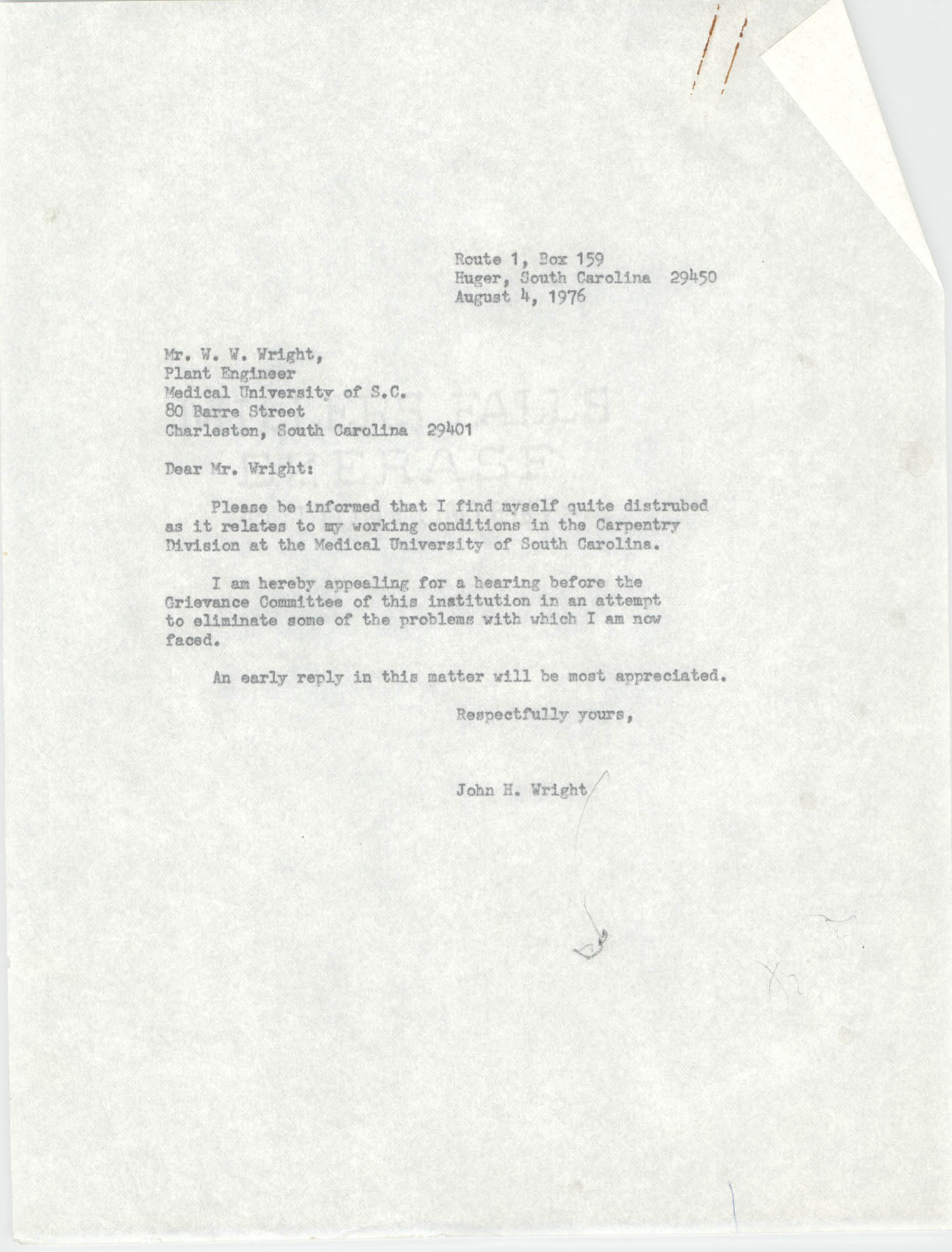 Letter from John H. Wright to W. W. Wright, August 4, 1976