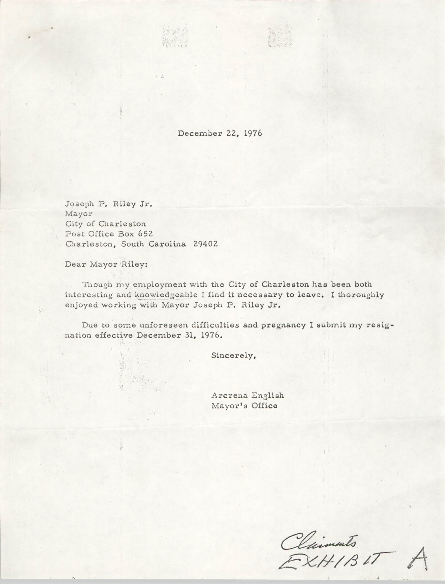Letter from Arcrena English to Joseph P. Riley, Jr., December 22, 1976