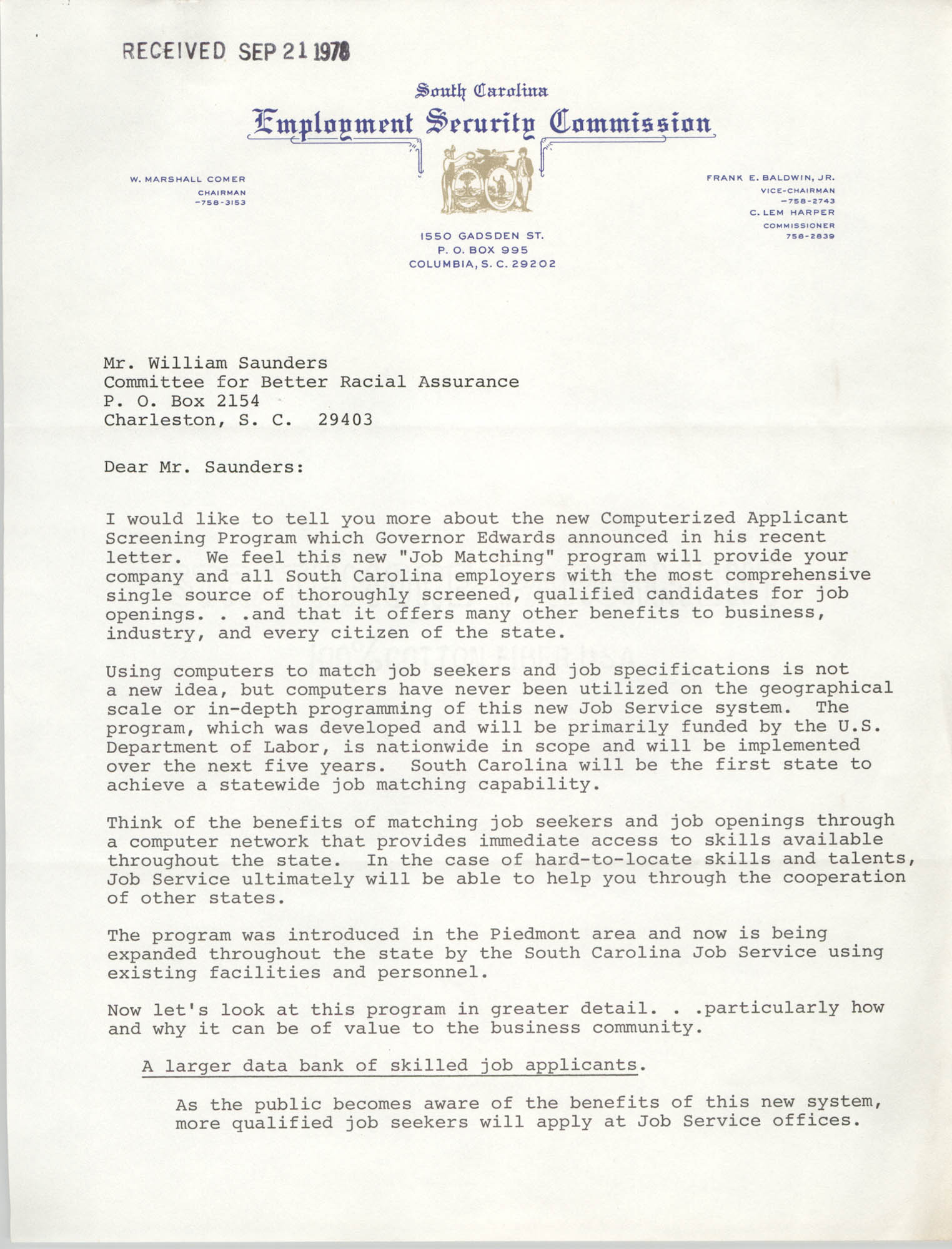 Letter from Robert E. David to William Saunders, September 21, 1978