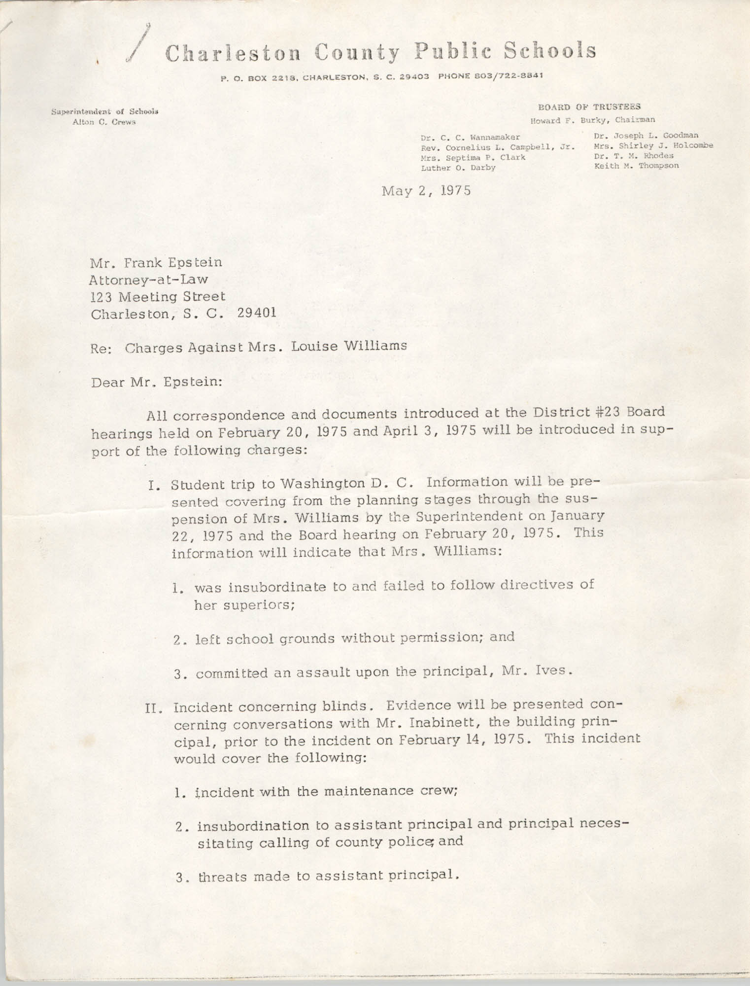 Letter from William B. Todd to Frank Epstein, May 2, 1975