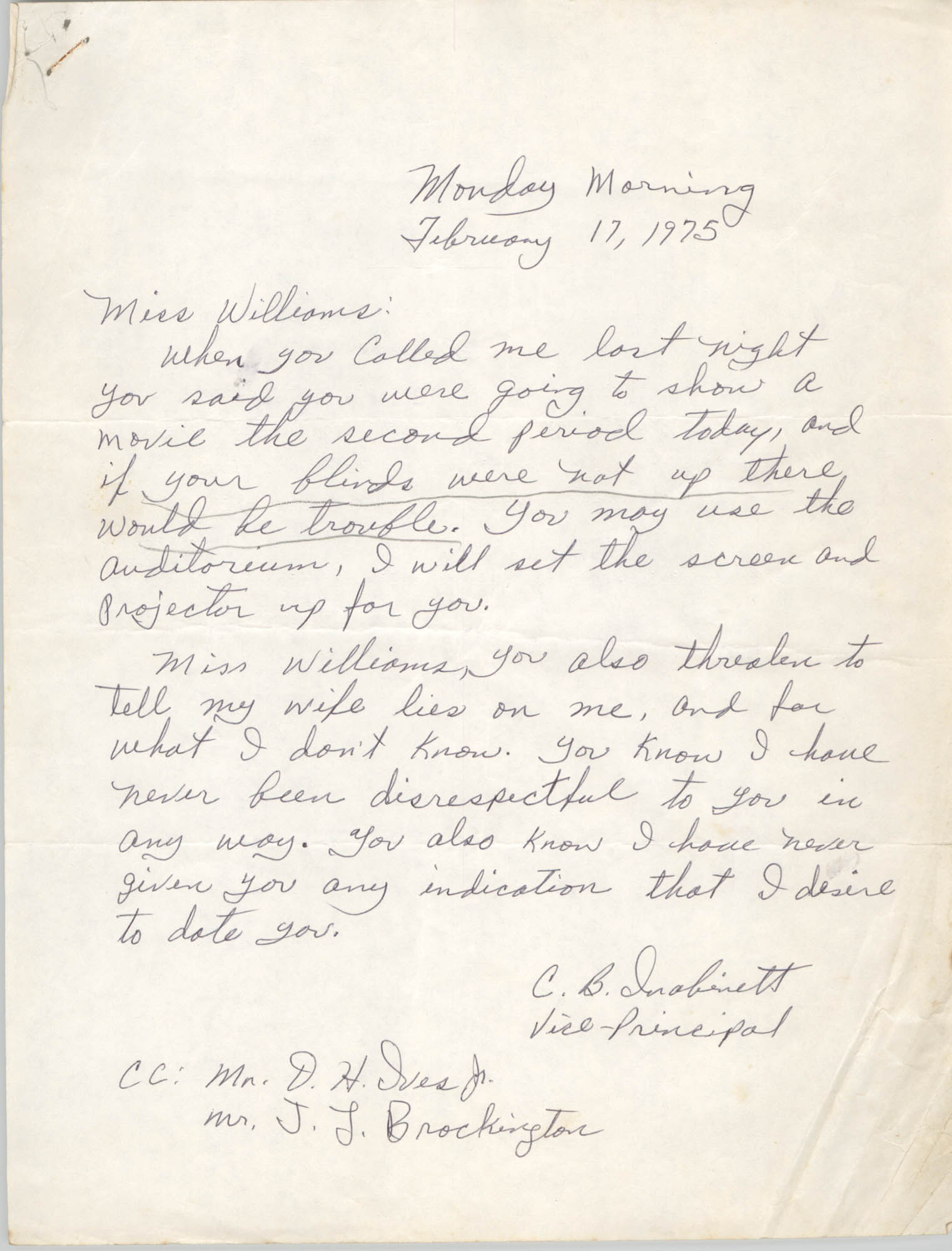Letter from C. B. Inabinett to Mary Louise Williams, February 17, 1975