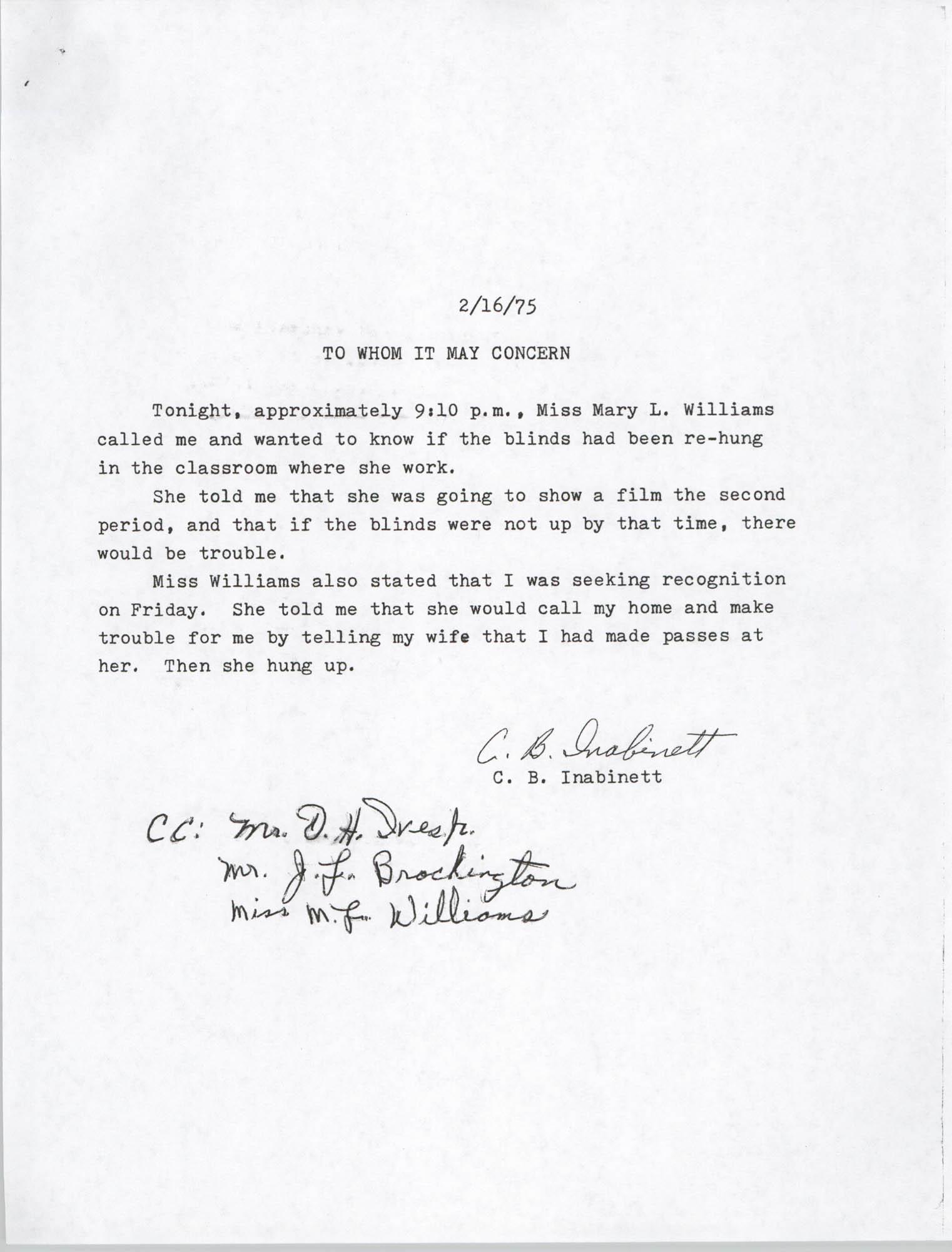 Letter from C. B. Inabinett, February 16, 1975