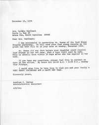 Letter from Aundrea I. Harney to Lottie Horlback, December 11, 1974