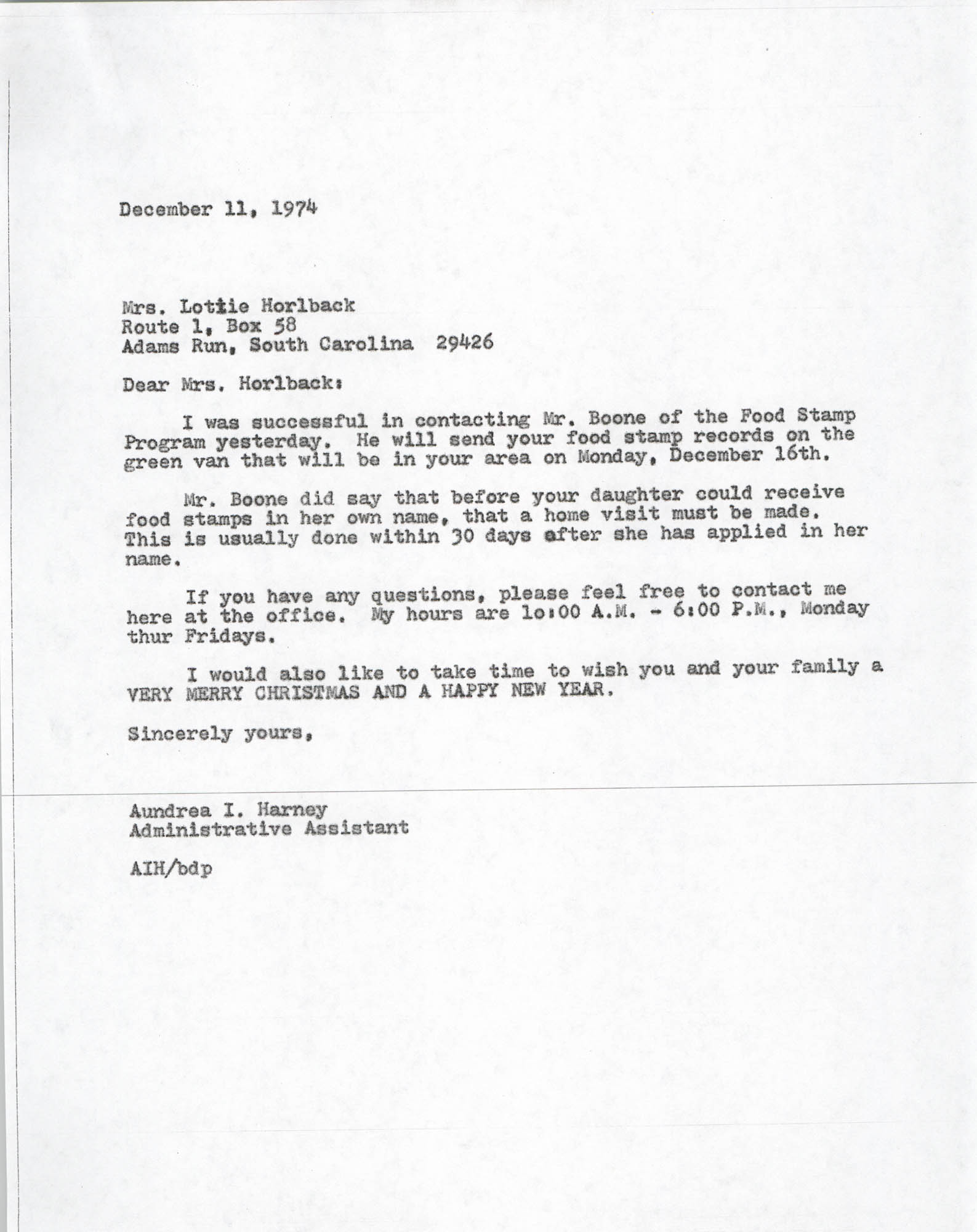 Letter from Aundrea I. Harney to Lottie Horlback, December 11, 1974