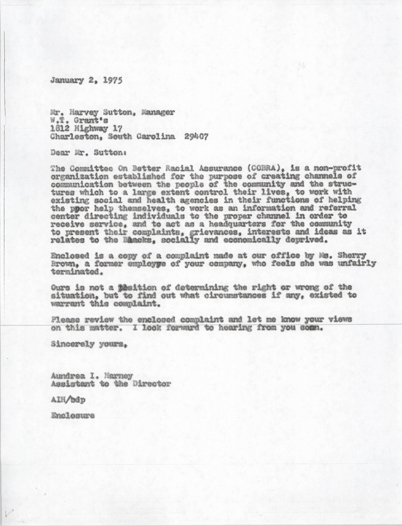 Letter from Aundrea I. Harvey to Harvey Sutton, January 2, 1975
