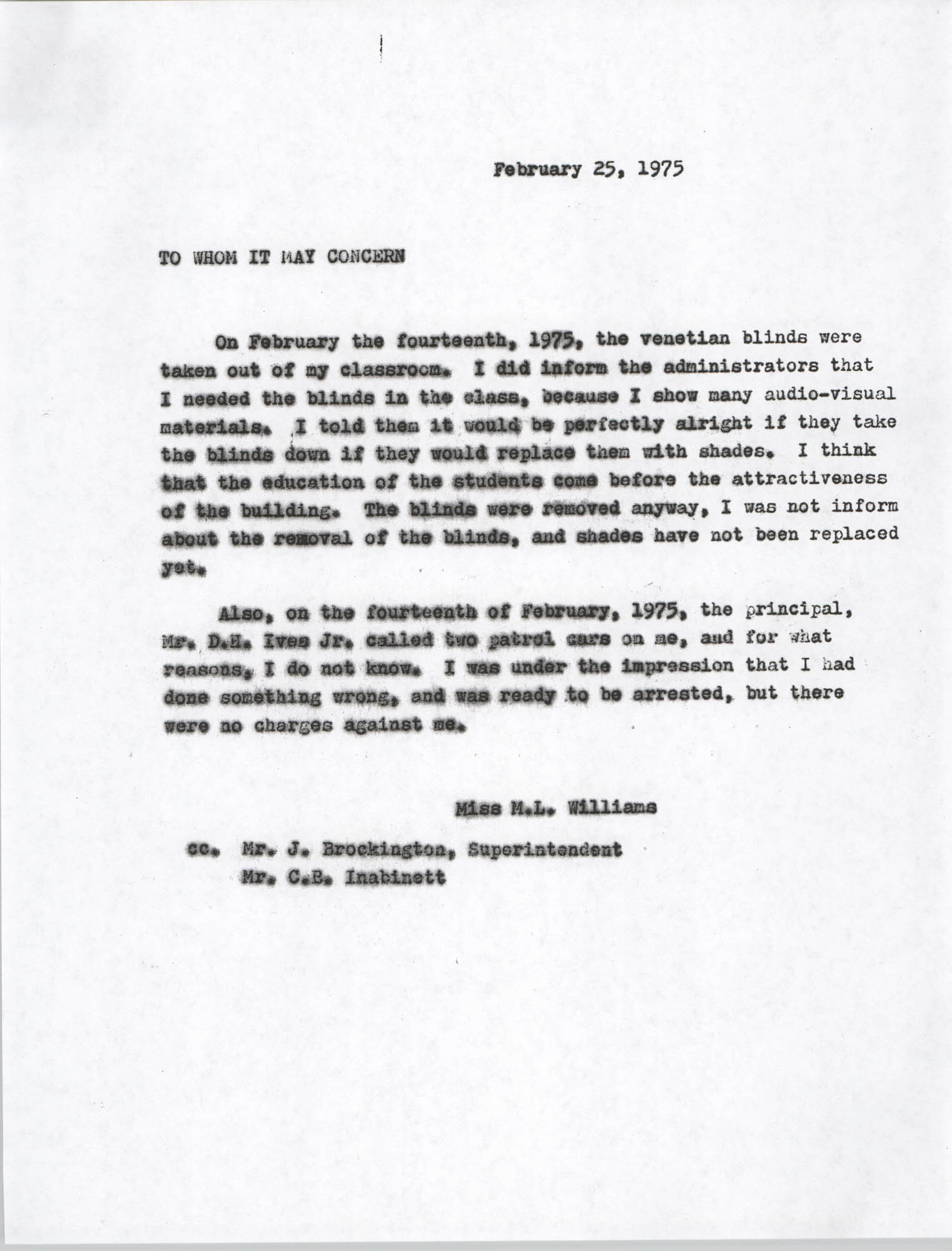 Letter from M. L. Williams, February 25, 1975
