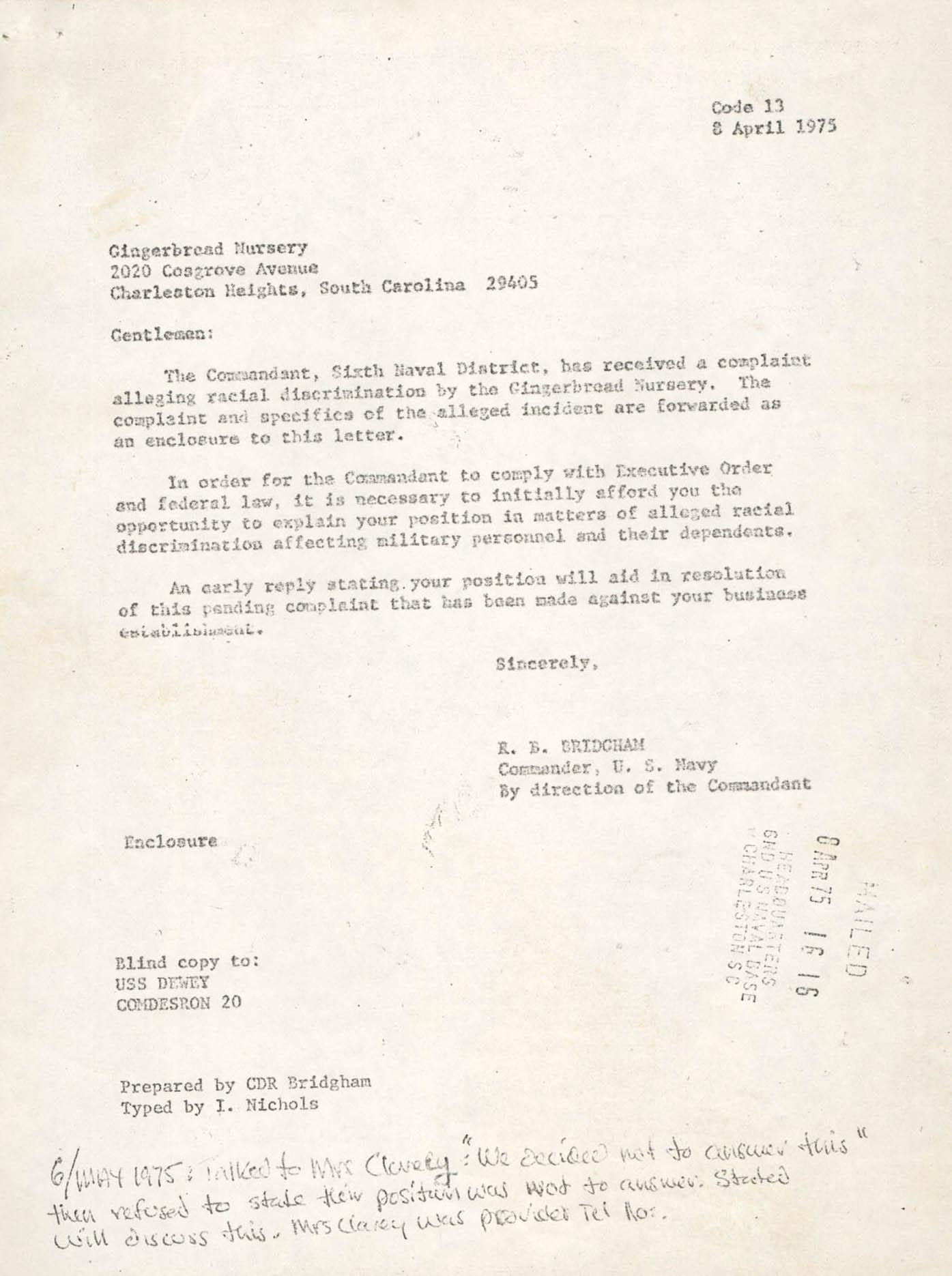 Letter from R. B. Bridgham, April 8, 1975