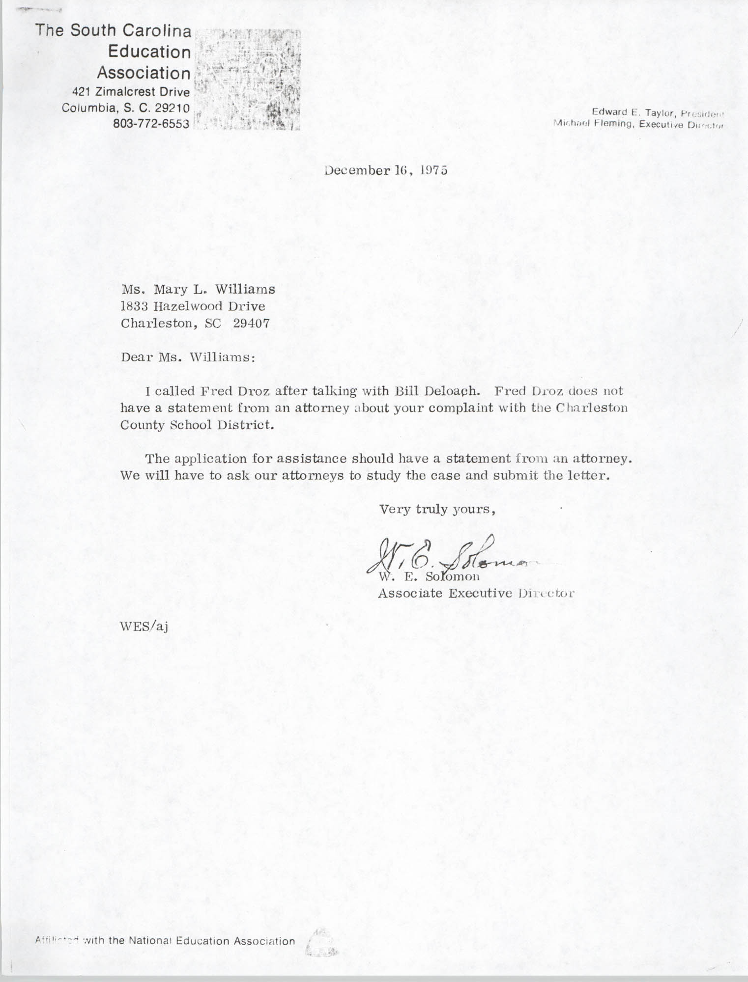 Letter from W. E. Solomon to Mary L. Williams, December 16, 1975