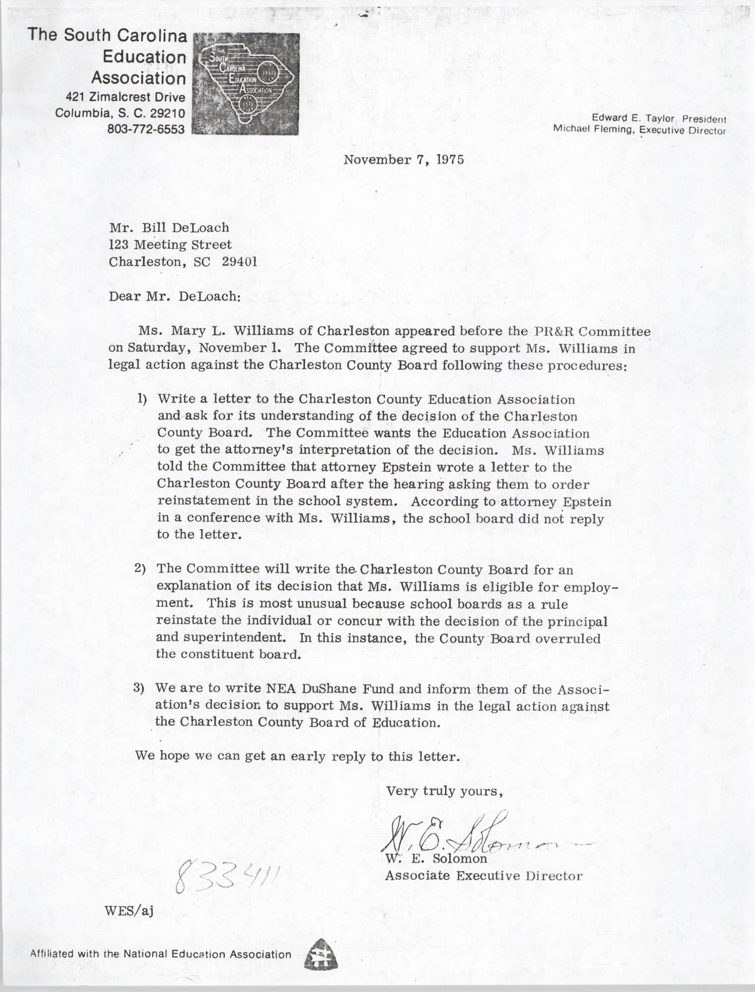 Letter from W. E. Solomon to Bill DeLoach, November 7, 1975