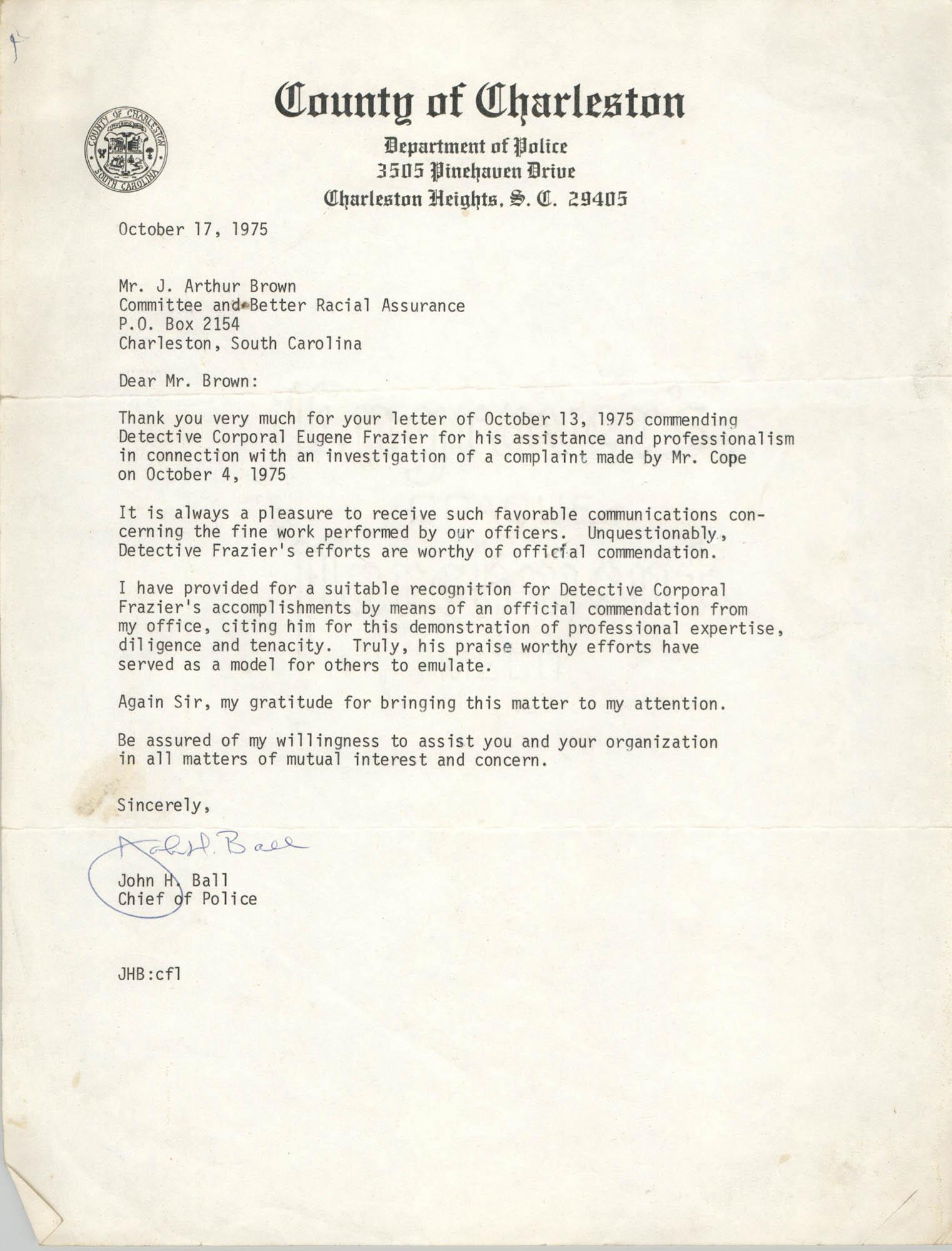 Letter from John H. Ball to J. Arthur Brown, October 17, 1975