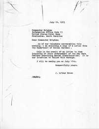 Letter from J. Arthur Brown to Commander Brigham, July 14, 1975
