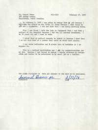 Statement by Samuel Evans, February 17, 1976
