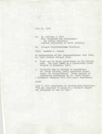 Medical University of South Carolina Memorandum, July 11, 1975