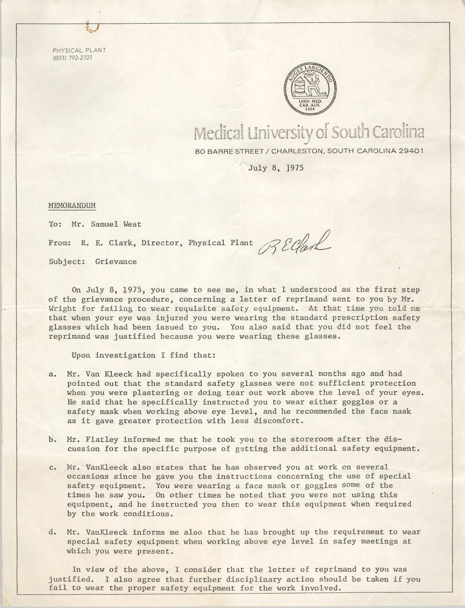 Medical University of South Carolina Memorandum, July 7, 1975