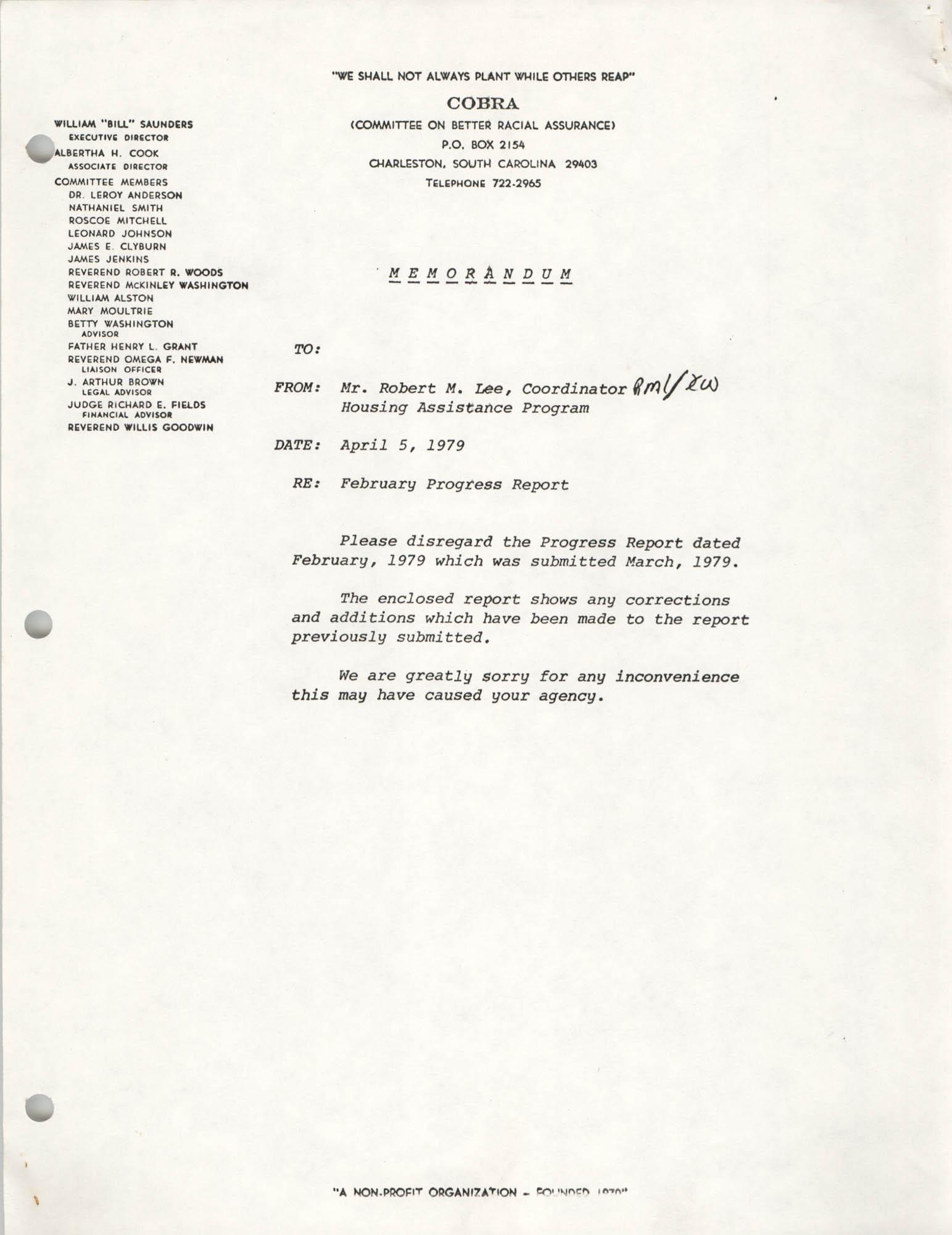 COBRA Memorandum, April 5, 1979