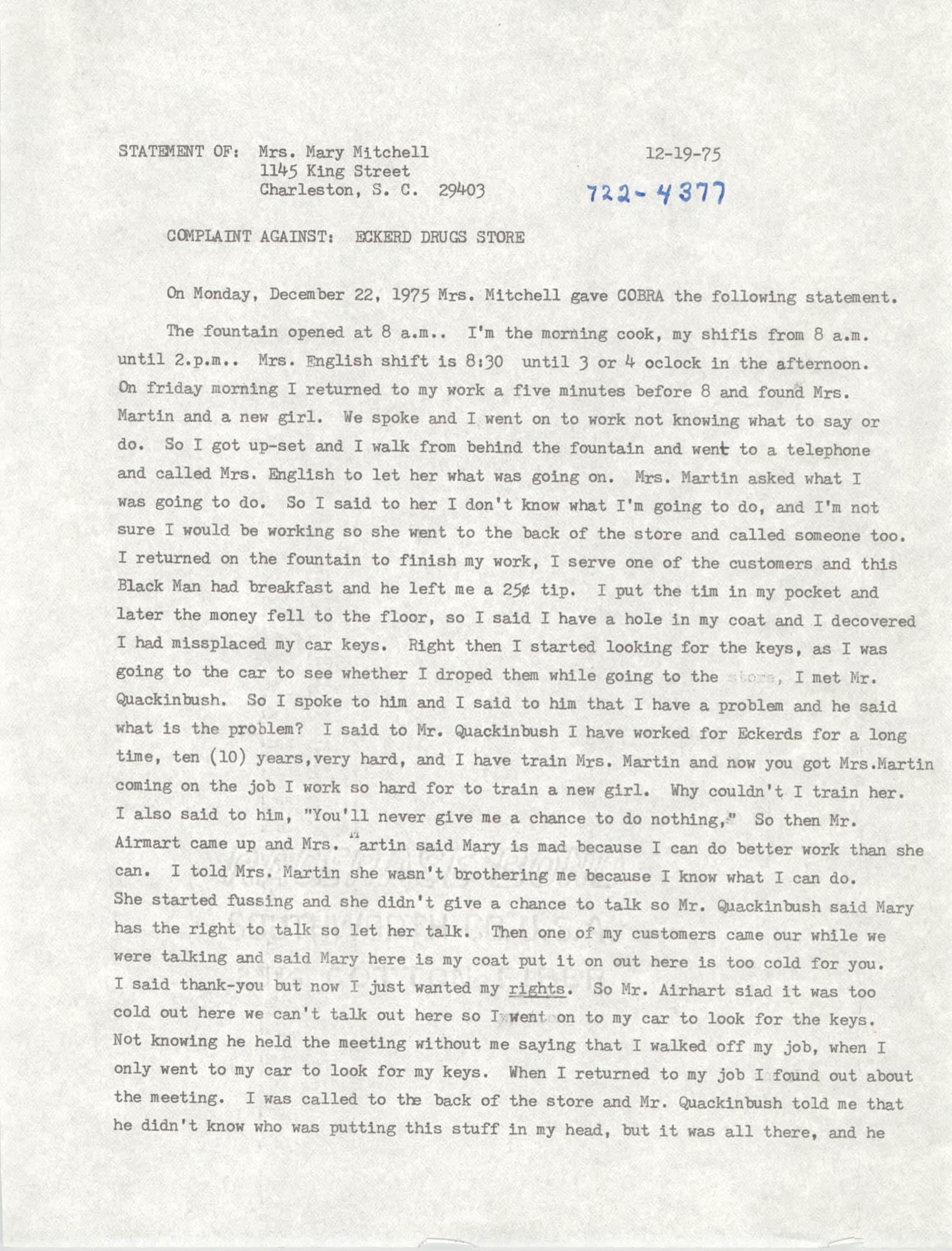 COBRA Complaint, December 19, 1975
