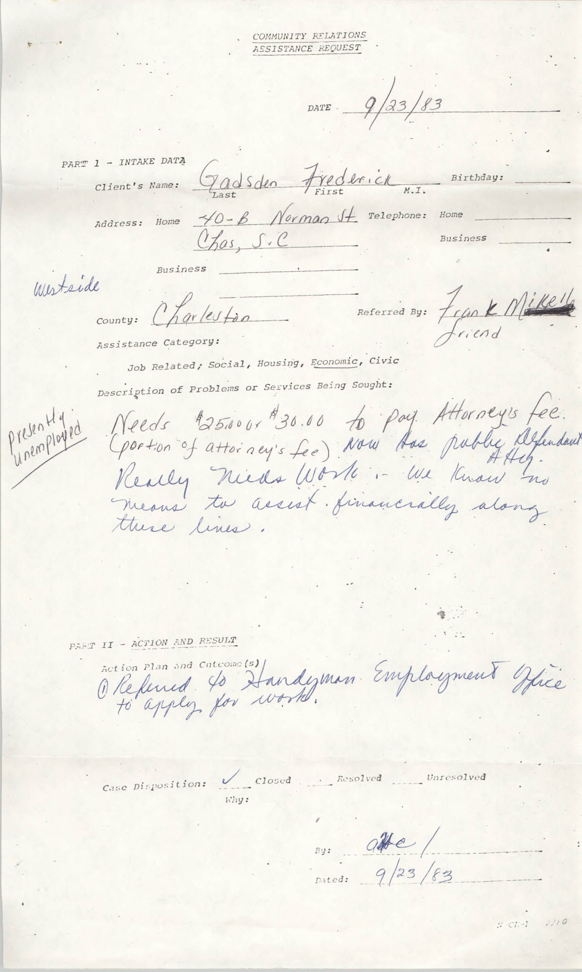 Community Relations Assistance Request, September 23, 1983