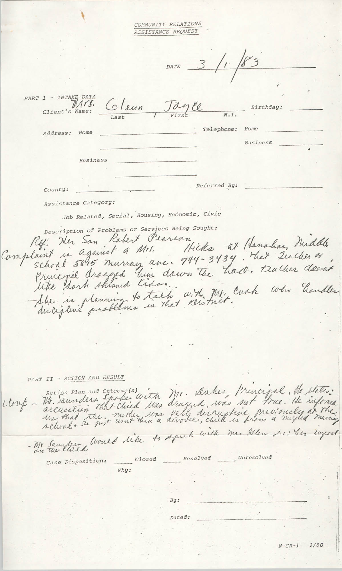 Community Relations Assistance Request, March 1, 1983