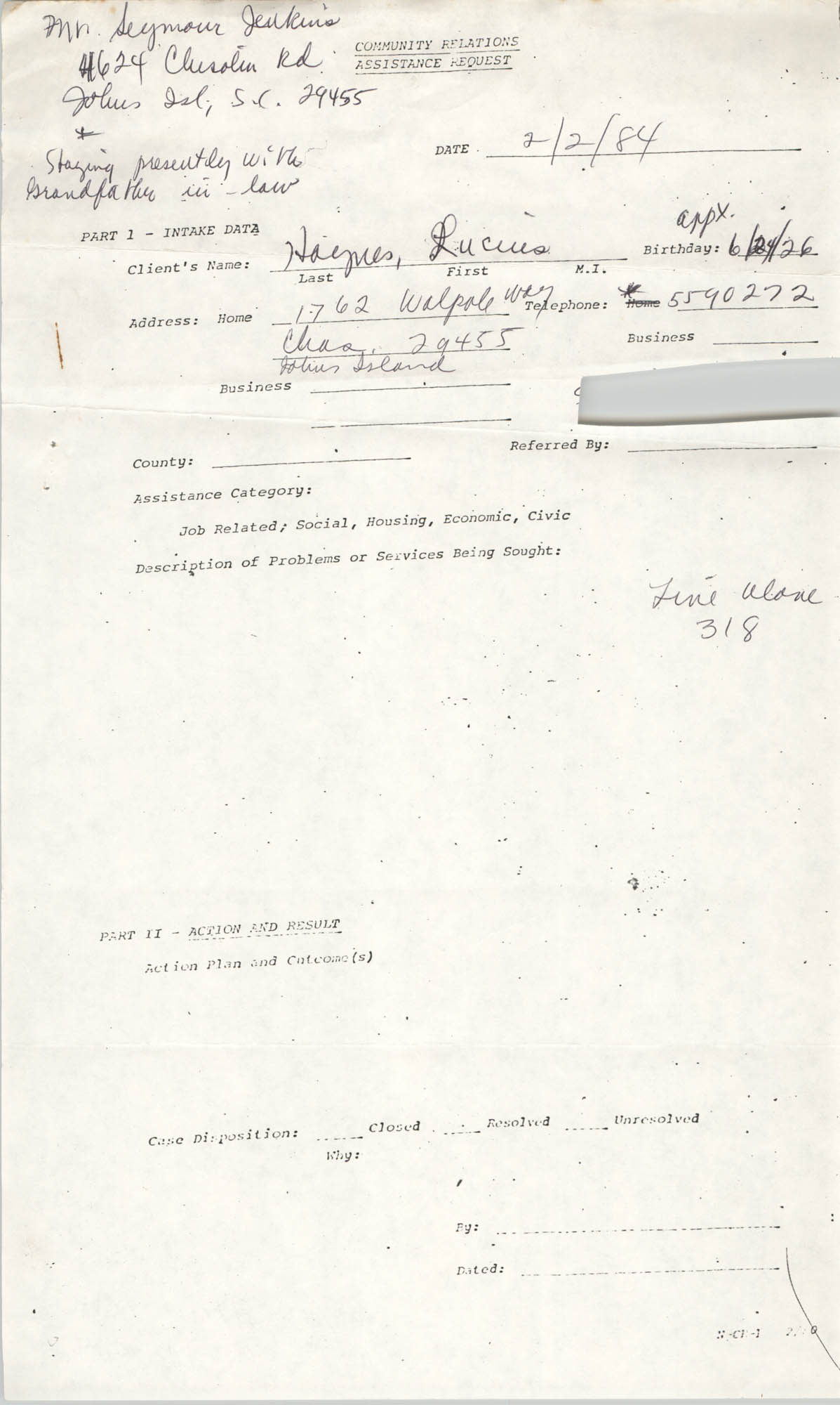 Community Relations Assistance Request, February 2, 1984