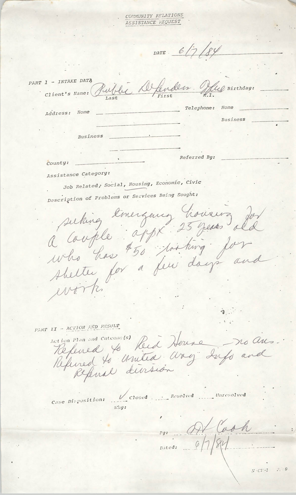 Community Relations Assistance Request, June 7, 1984