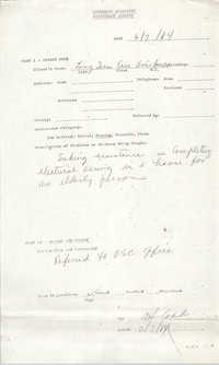 Community Relations Assistance Request, June 7, 1984