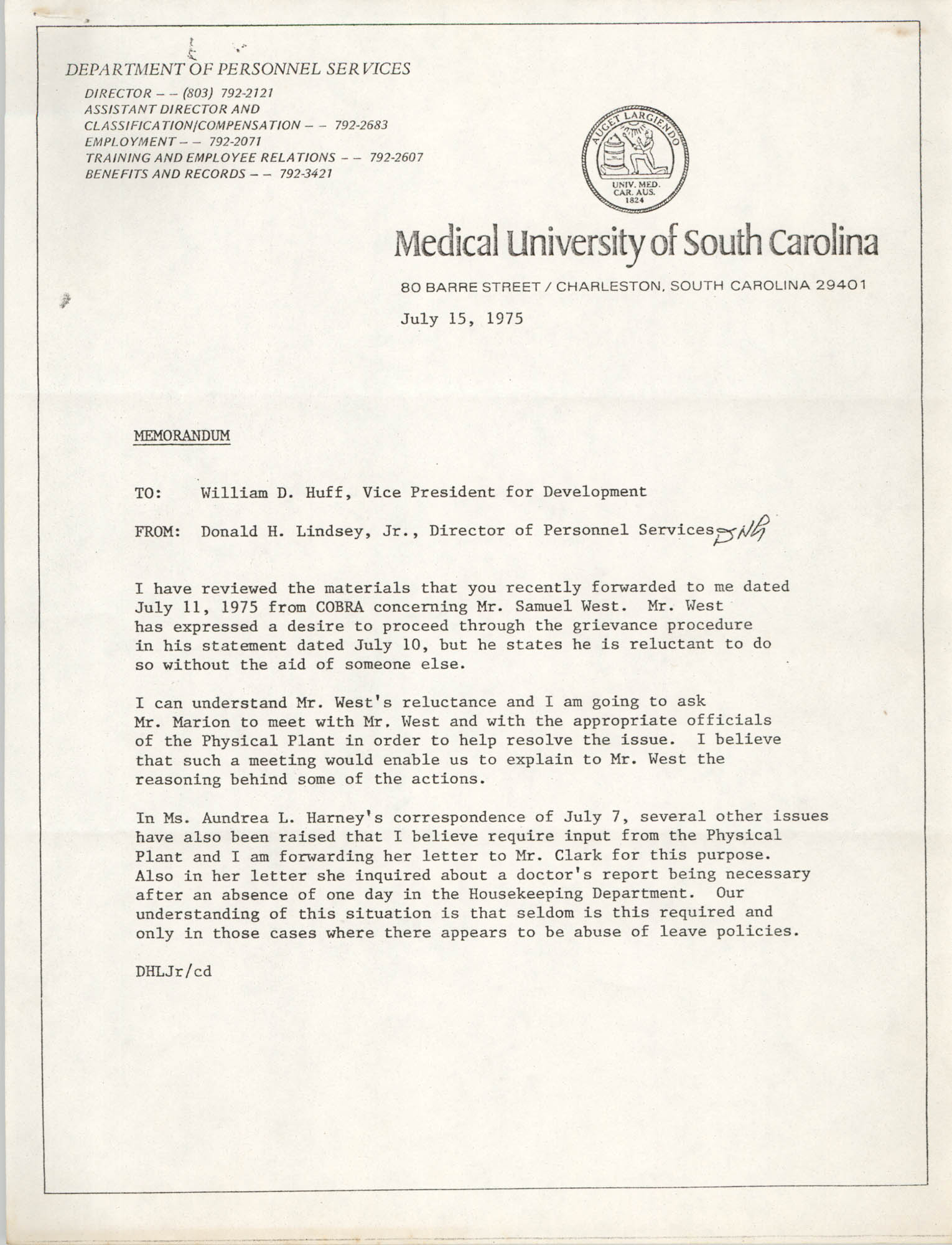 Medical University of South Carolina Memorandum, July 15, 1975