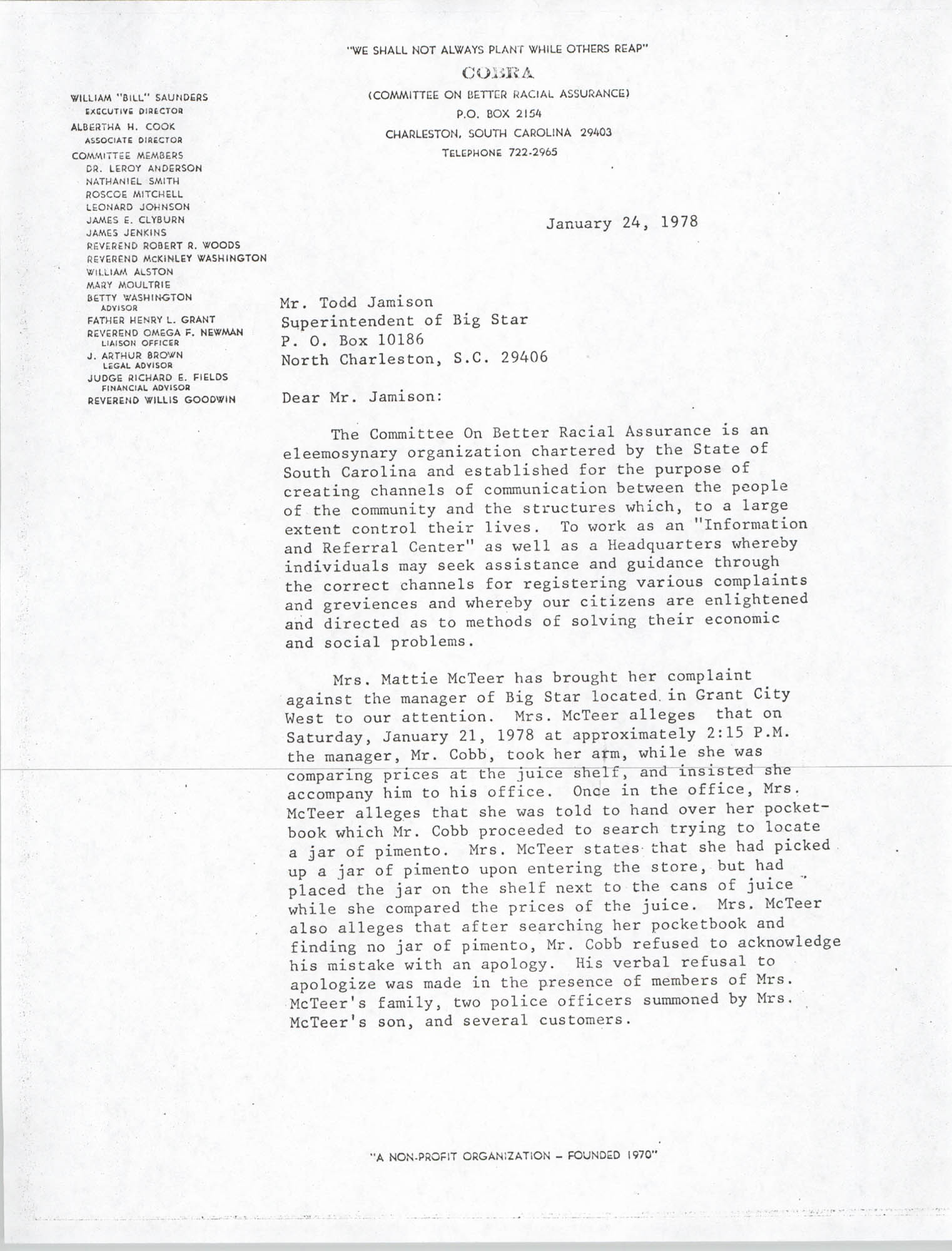 Letter from William Saunders to Todd Jamison, January 24, 1978
