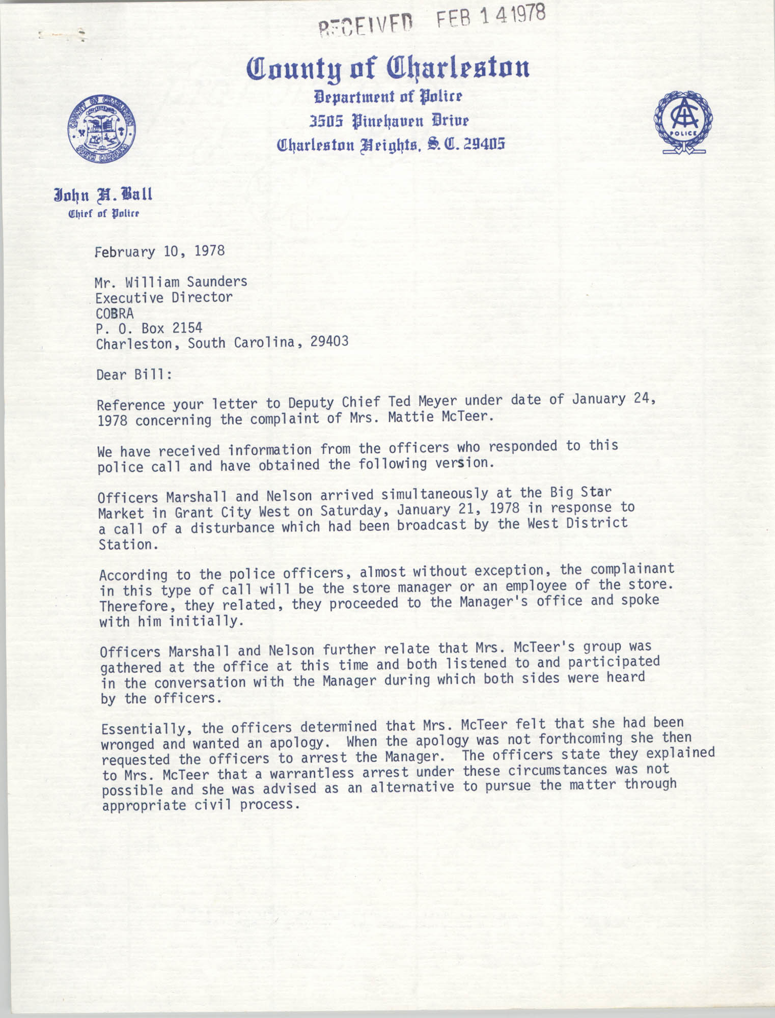 Letter from John H. Ball to William Saunders, February 10, 1978