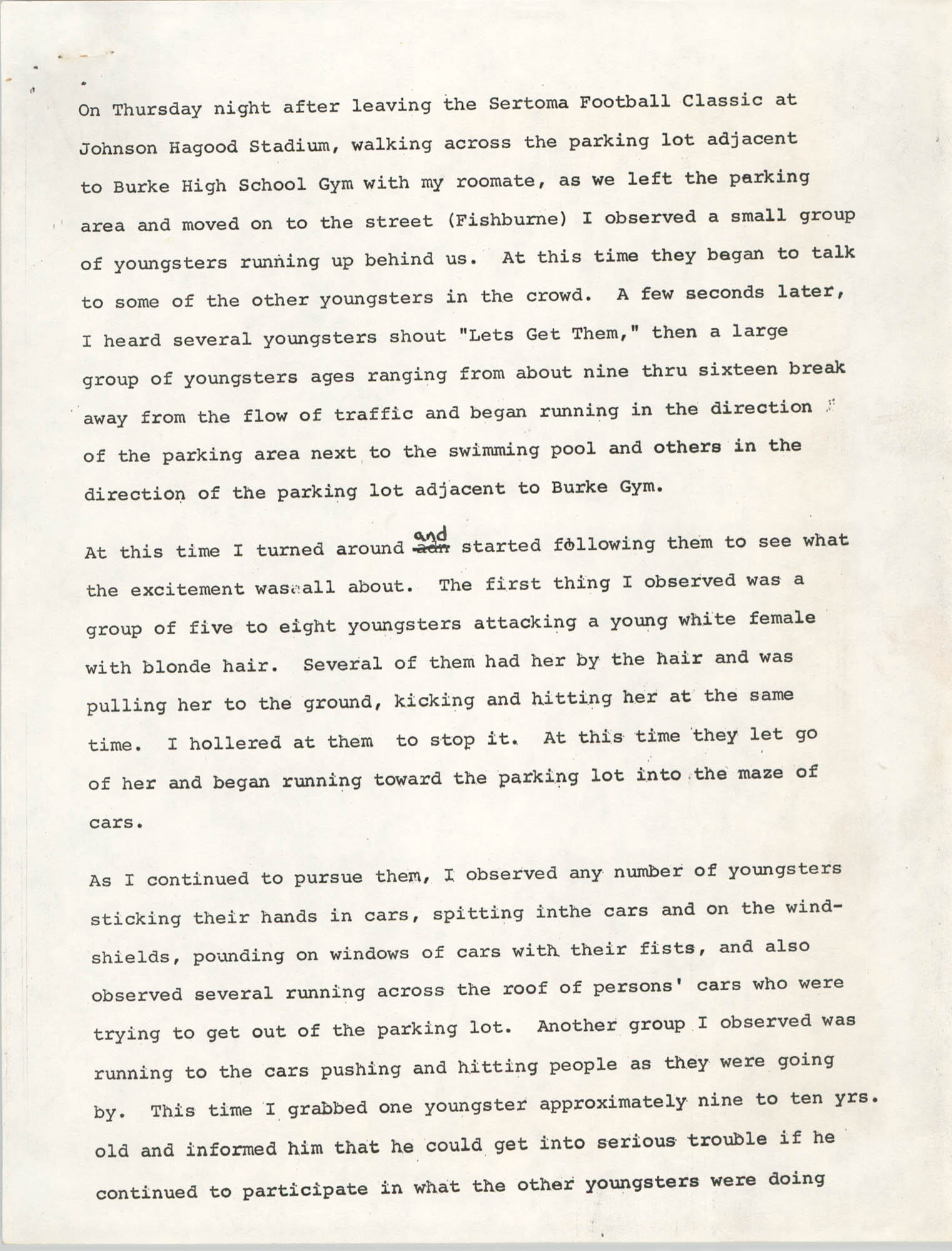 Statement by Leroy Simmons, August 25, 1977