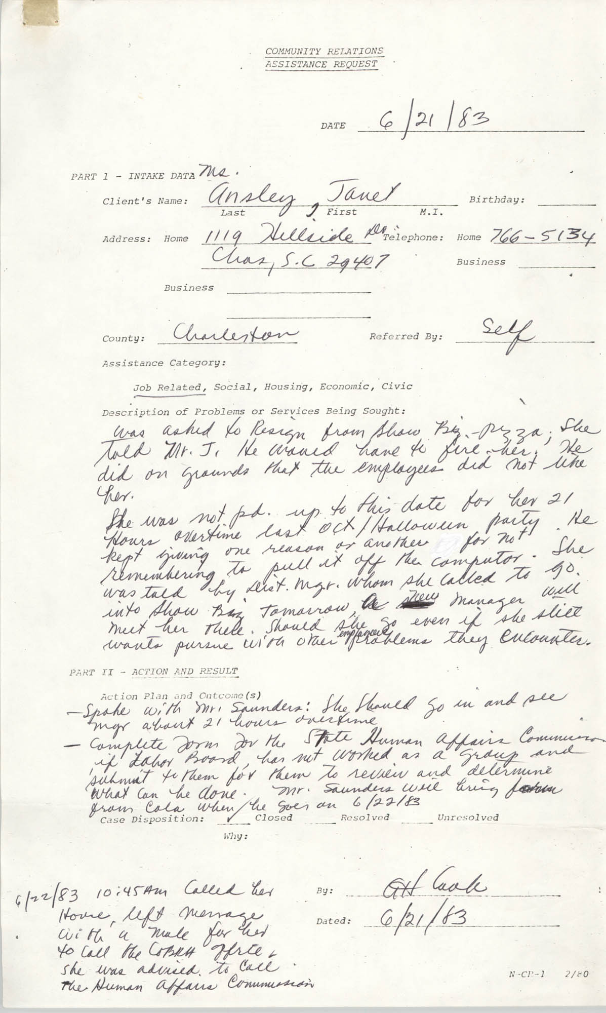 Community Relations Assistance Request, June 21, 1983