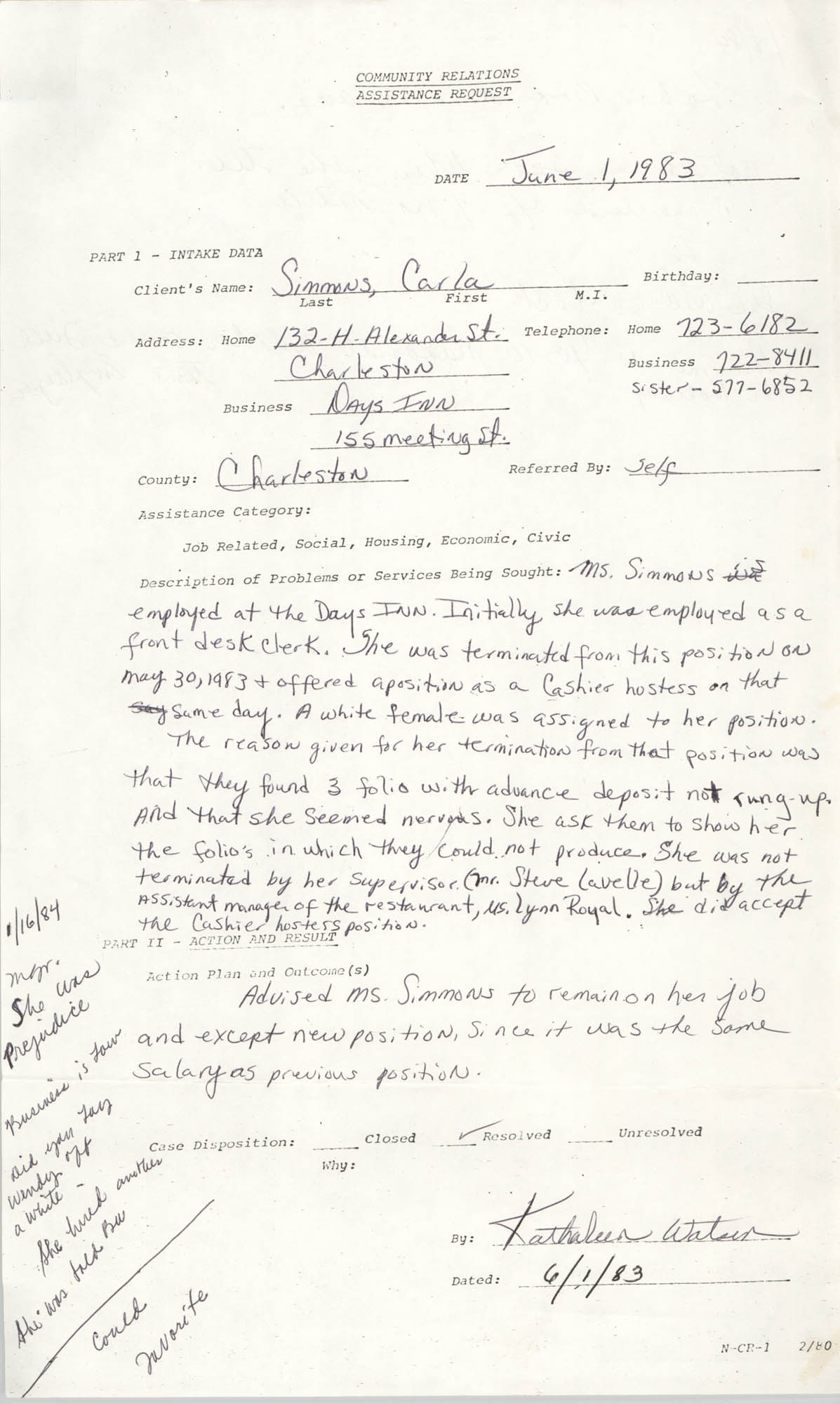 Community Relations Assistance Request, June 1, 1983