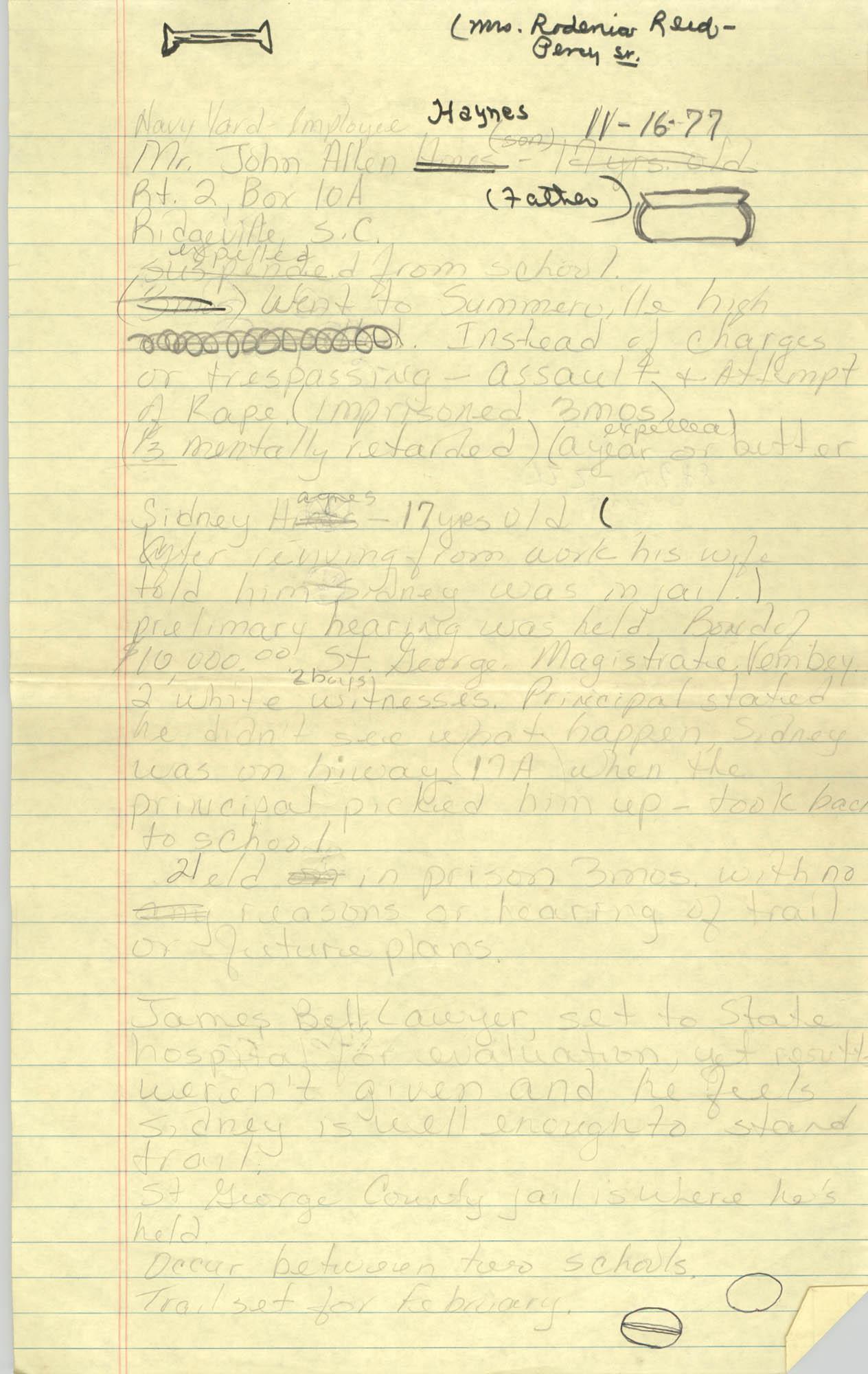 Handwritten COBRA Notes, November 16, 1977