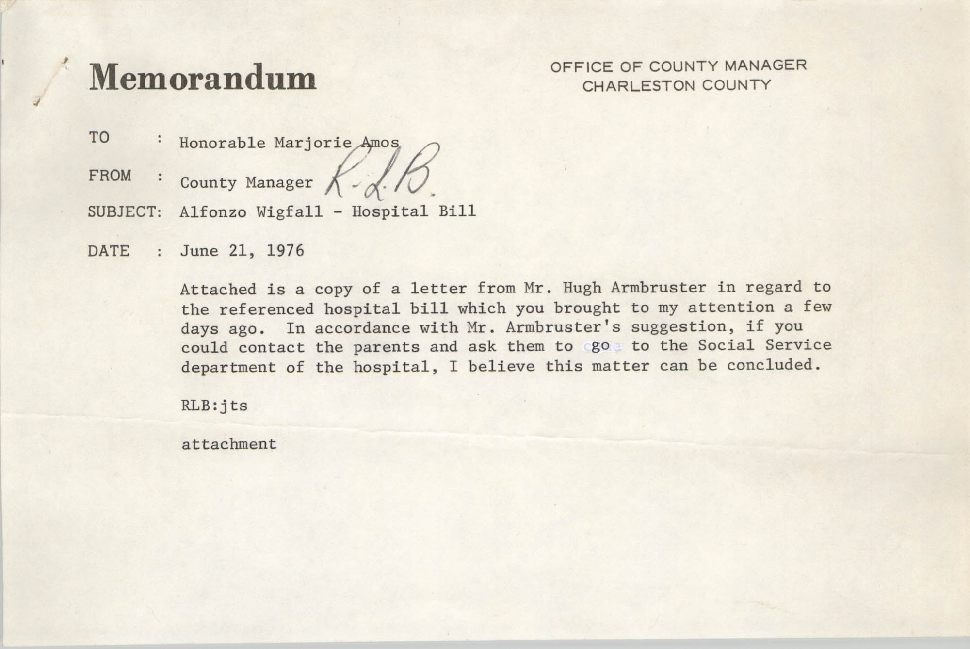 Memorandum, June 21, 1976