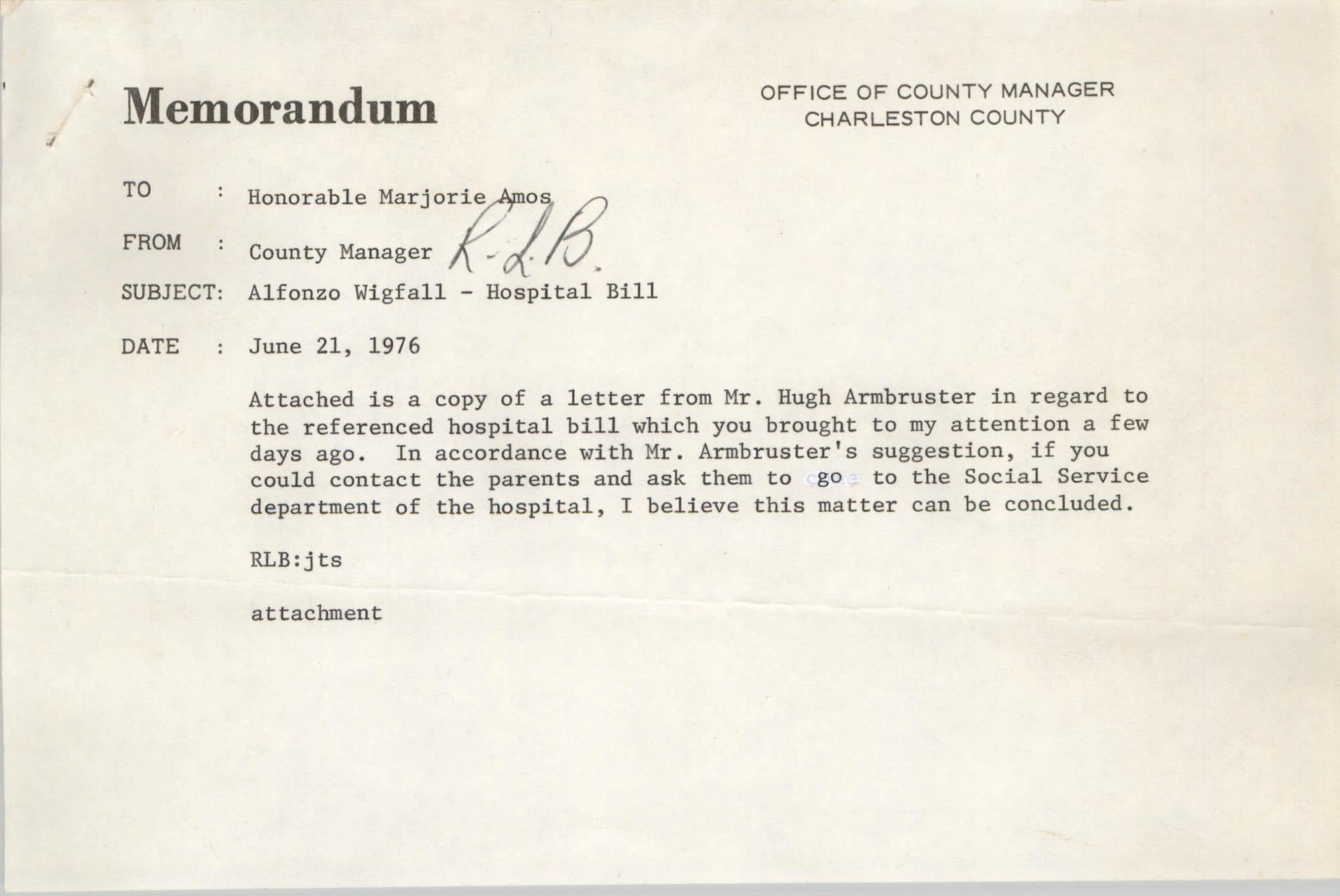 Memorandum, June 21, 1976