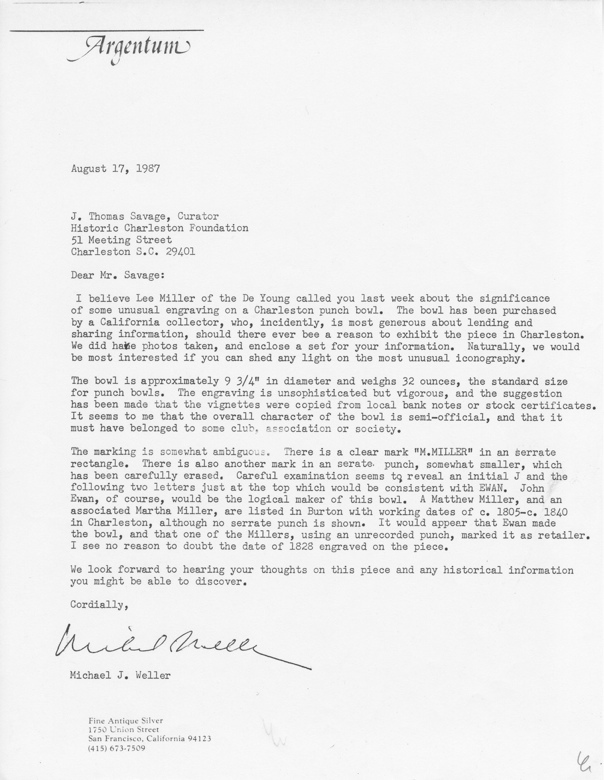 Letter Explaining the Engravings on a Punch Bowl