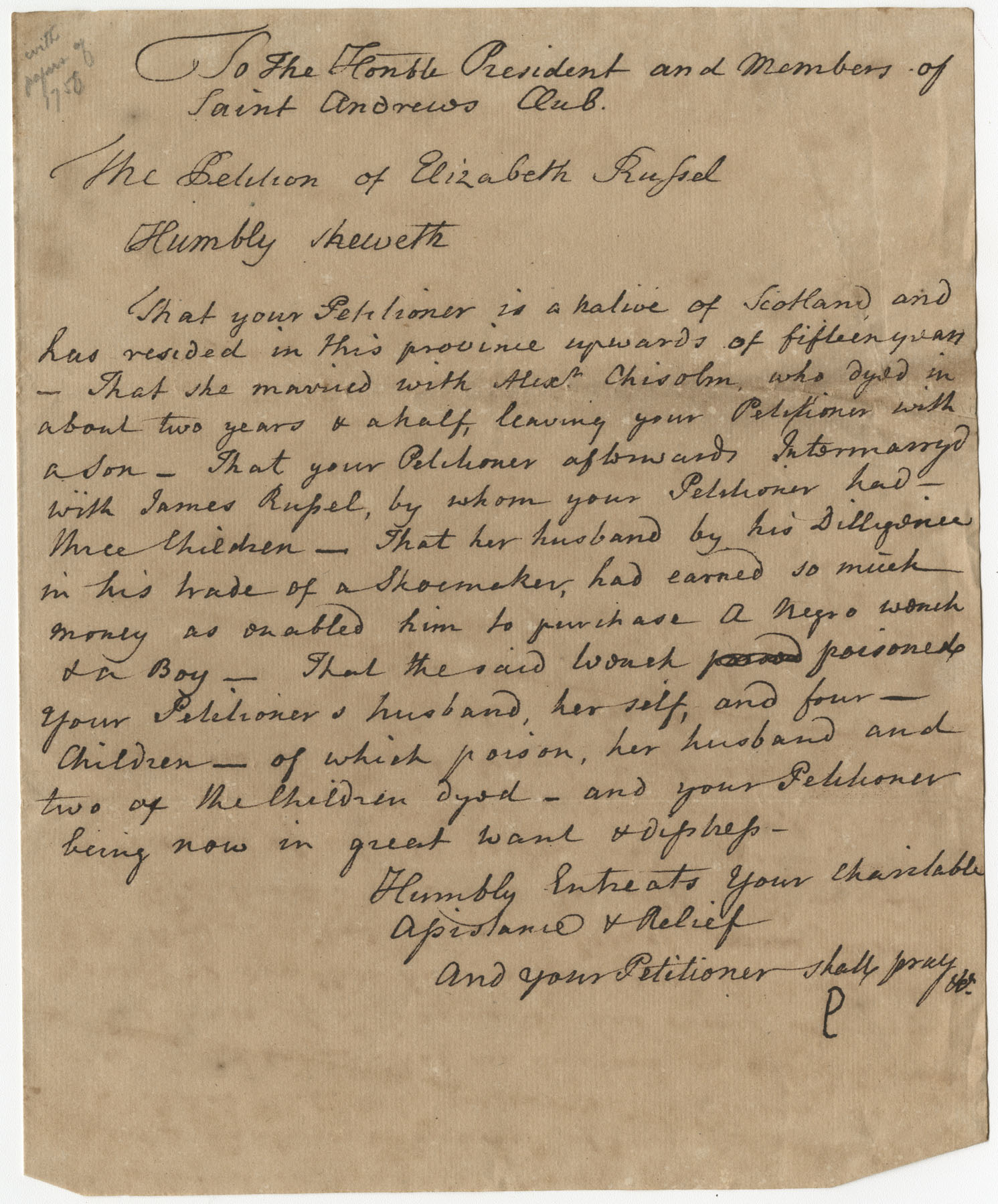 Elizabeth Russel's Petition Letter to the St. Andrew's Society