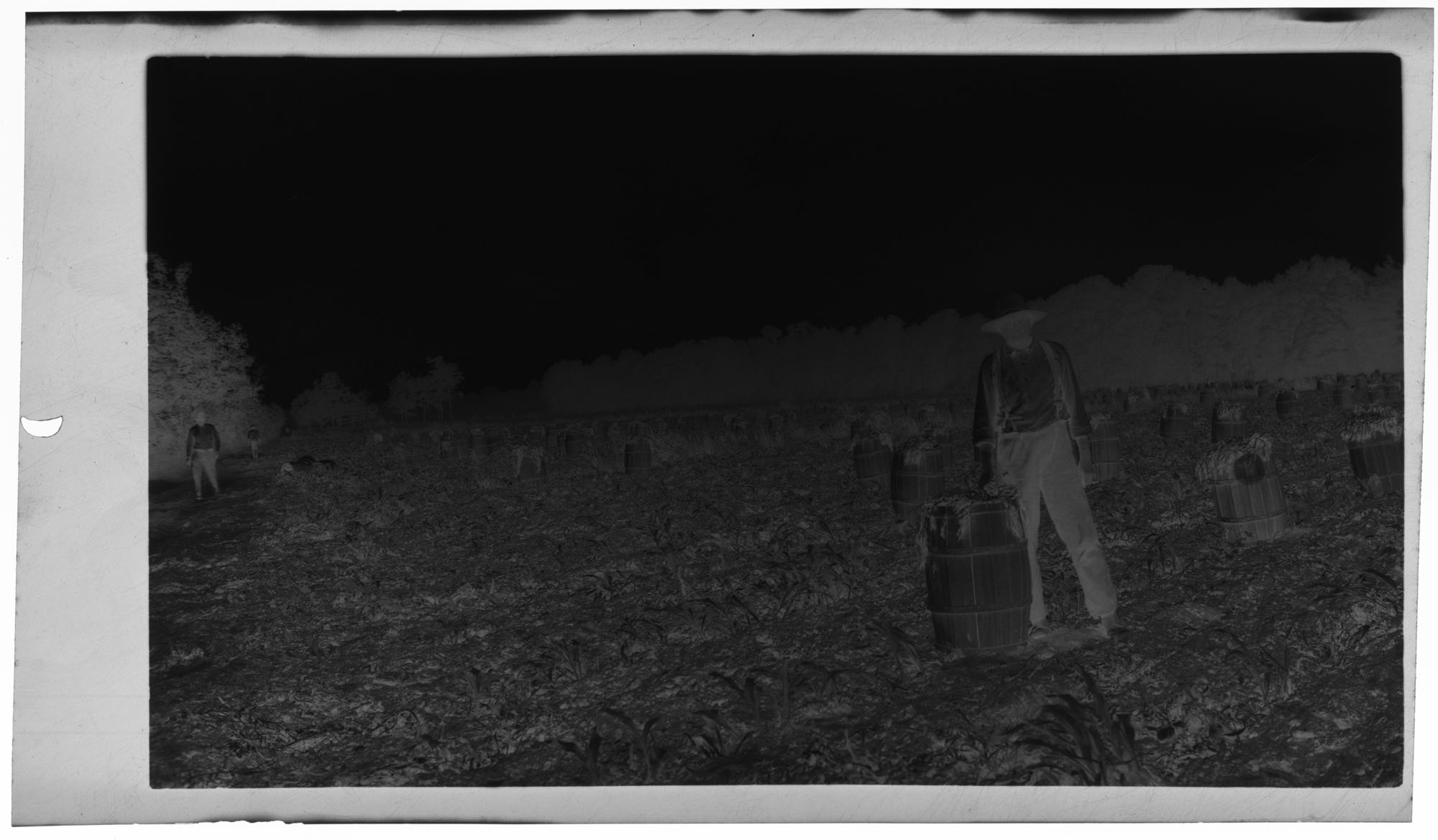 Negative of Man with Barrel