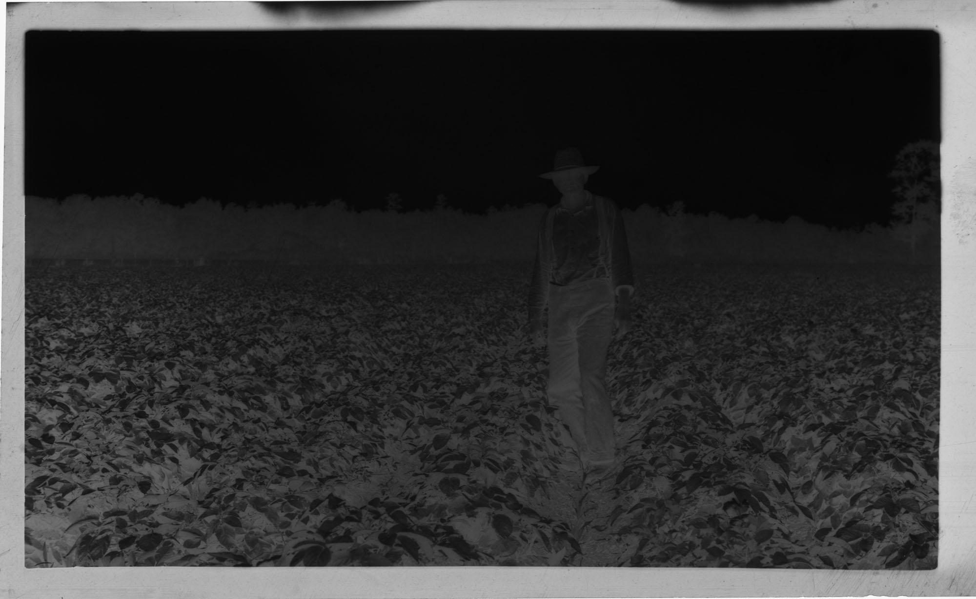 Negative of Man Standing in Field