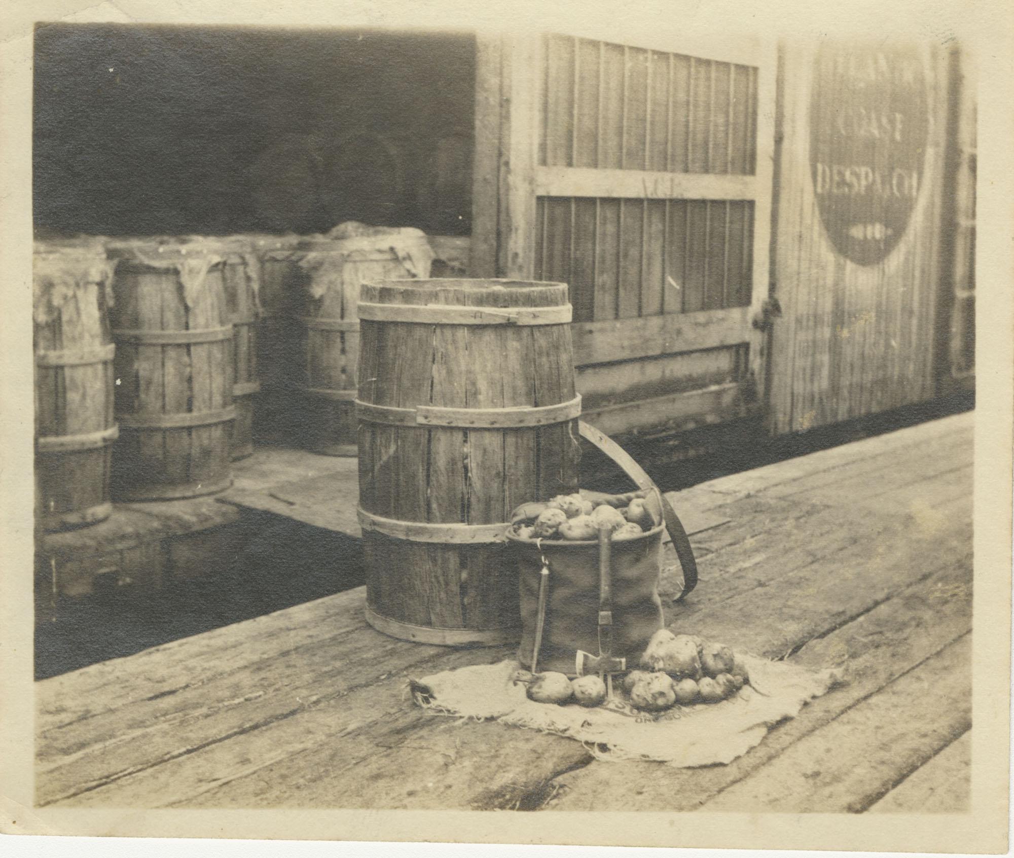Potato Barrels and Bag